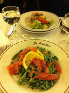 Red rocket salad with smoked salmon
