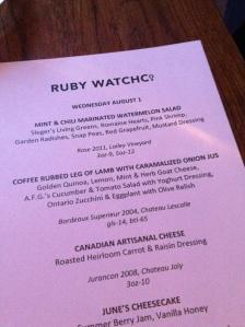 Ruby Watch Co menu